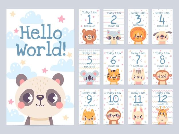 동물과 아기 달 카드입니다. 신생아 스크랩북에 대한 월별 이정표 스티커. 아이들은 나무늘보, 사자, 기린, 여우 벡터 세트가 있는 태그를 사용합니다. 사랑스러운 캐릭터와 함께 어린이 성장 축하