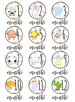 Baby months cards