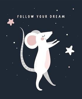 아기 쥐와 별 꿈을 따라 프리미엄 벡터