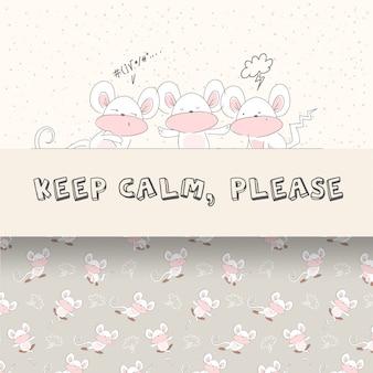 赤ちゃんマウスかわいいイラストとシームレスパターンセット
