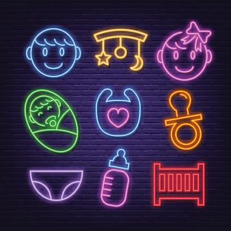 Baby neon icons