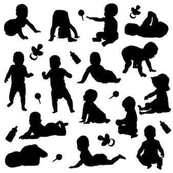 Baby new born child silhouette clip art