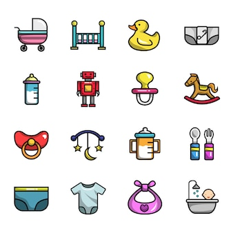 Baby new born elements full color  icon set