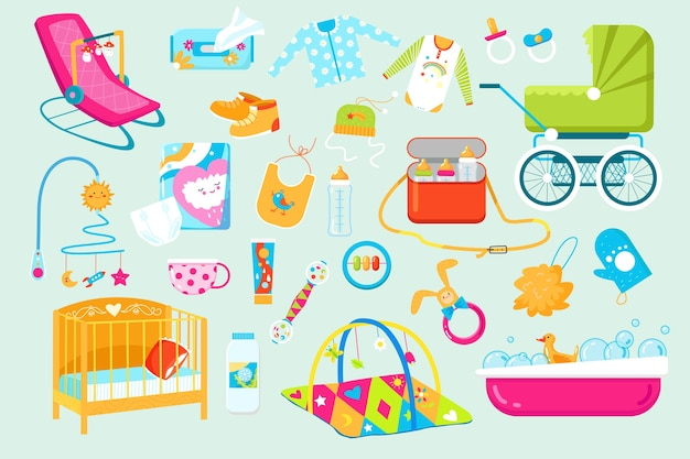 Baby and newborn care accessories icons
