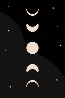 아기 보육 달 그래픽 패턴 아이콘 boho 미니멀리스트 티셔츠 ptint 요소 디자인