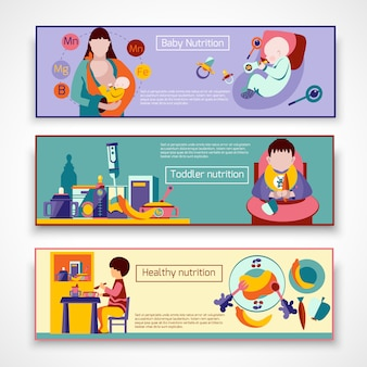 Baby nutrition banner set