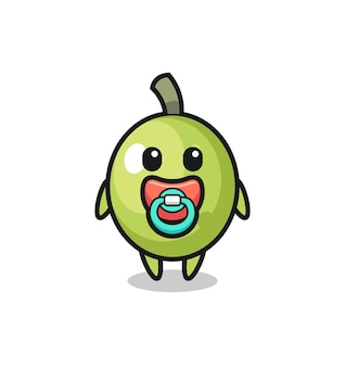 Baby olive cartoon character with pacifier , cute style design for t shirt, sticker, logo element