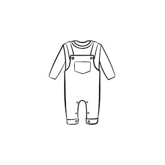 Детские общие рубашки и брюки рисованной наброски каракули значок. комплект детской одежды рубашки и штанов векторные иллюстрации эскиз для печати, интернета, мобильных устройств и инфографики, изолированные на белом фоне.