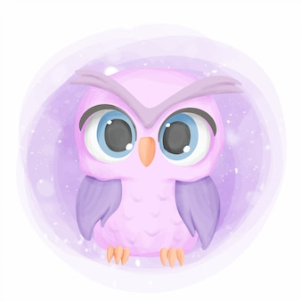 Baby owl cute portrait cartoon nursery