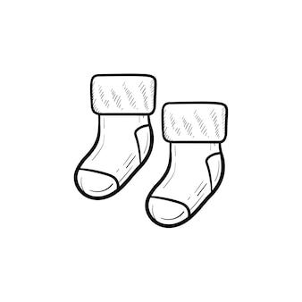 Детские пары носков рисованной наброски каракули значок. носки для новорожденных ног векторные иллюстрации эскиз для печати, интернета, мобильных устройств и инфографики, изолированные на белом фоне.