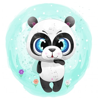 Baby panda cute character painted with watercolor premium vector