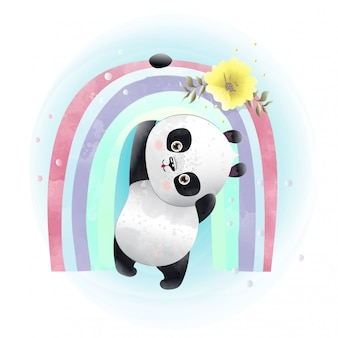 Baby panda cute character painted with watercolors.