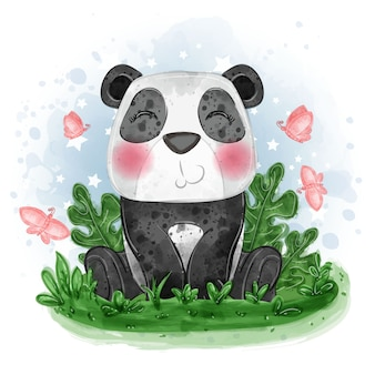 Baby panda cute illustration sit down on the grass with butterfly