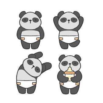 Baby panda hand drawn cartoon collection