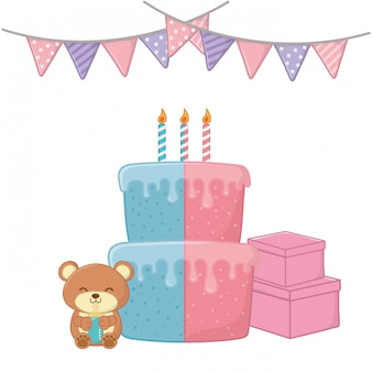 Baby party elements vector illustration