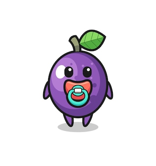 Baby passion fruit cartoon character with pacifier , cute style design for t shirt, sticker, logo element