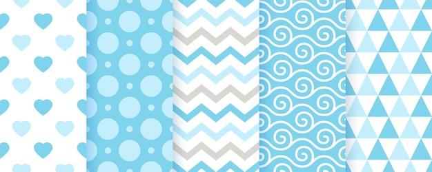 Baby pattern. baby boy seamless backgrounds. blue pastel textile textures. vector. kids geometric print. set of cute childish wrapping paper. scrapbook backdrops. modern illustration.