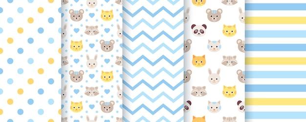 赤ちゃんのパターン。男の子のシームレスな背景。動物、水玉、ジグザグ、ストライプのキッズテクスチャ