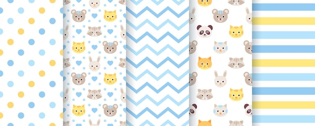 Baby pattern. baby boy seamless backgrounds. kids textures with animals, polka dot, zig zag and stripes