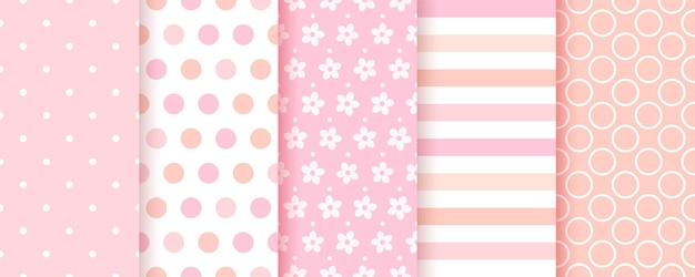 Baby pattern. baby girl seamless background. pink textile print. vector. set of kids pastel geometric textures. cute childish backdrop with polka dots, stripes and flowers. modern illustration.