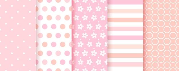 赤ちゃんのパターン。女の赤ちゃんのシームレスな背景。ピンクのテキスタイルプリント。ベクター。子供のパステル幾何学的なテクスチャのセット。水玉模様、ストライプ、花のかわいい子供っぽい背景。モダンなイラスト。