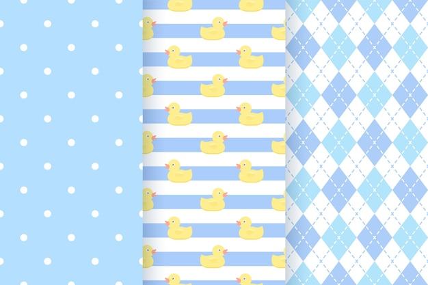 赤ちゃんのパターン。ブルーパステルの幾何学模様。