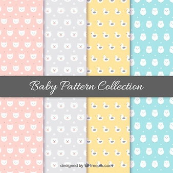 Baby pattern collection in four colors