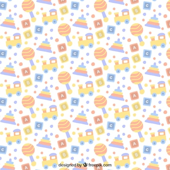 Baby pattern of elements in pastel colors