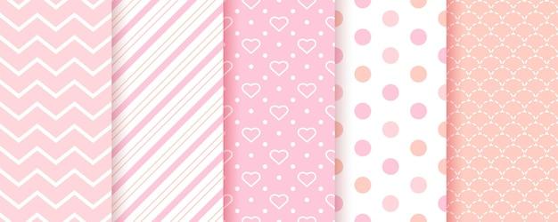 赤ちゃんのパターン。ピンクのシームレスな背景。女の赤ちゃんの幾何学的なテクスチャ。ベクター。キッズパステルテキスタイルプリントのセット。水玉模様、ジグザグ、ストライプのかわいい子供っぽい背景。モダンなイラスト。