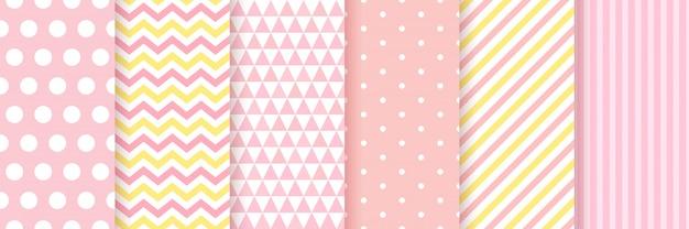 Детские бесшовные. baby девушка душ стола. , установить розовые пастельные узоры для приглашения, пригласить шаблоны, открытки, вечеринки по случаю дня рождения, записки. иллюстрация.