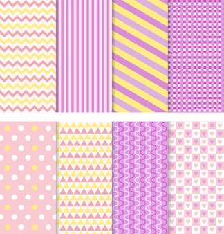 Baby pattern seamless baby girl shower backgrounds set pink pastel patterns for invitation or cover