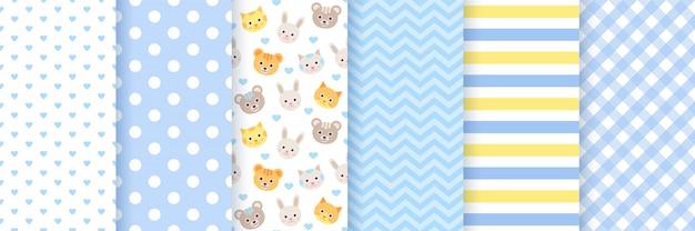 シームレスな赤ちゃんパターン。かわいい青いパステルパターン