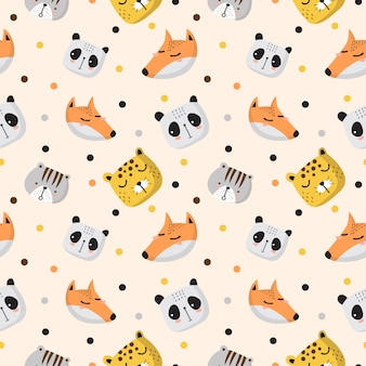 Baby pattern with head of panda,leopard,fox and cat in the soft