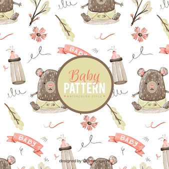 Baby pattern with little bear in watercolor style