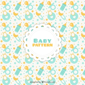 Baby pattern with pacifiers and bibs