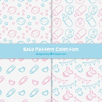 Baby patterns collection in hand drawn style