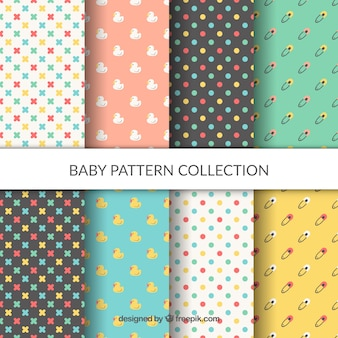 Baby patterns collection in flat style