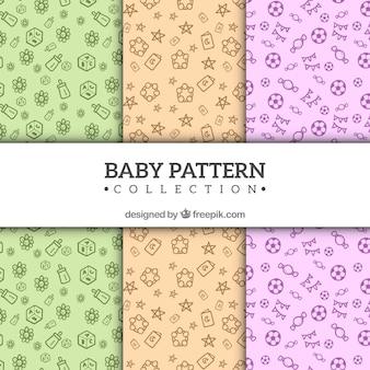 아기 패턴 컬렉션 손으로 그린 스타일