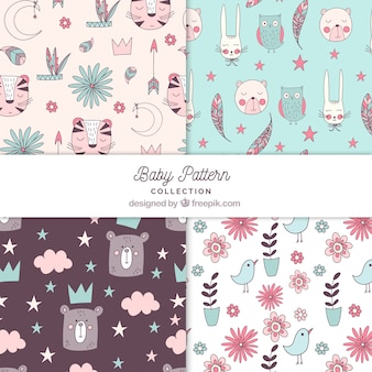 Baby patterns collection with cute elements Premium Vector