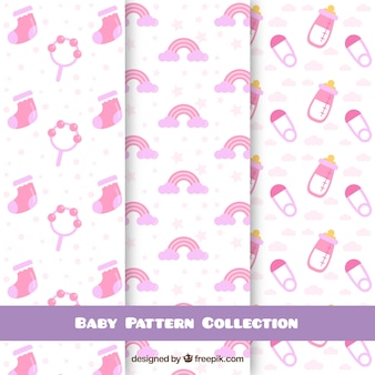 Baby patterns collection with elements