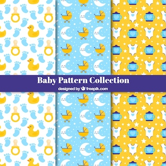 Baby patterns collection with flat elements