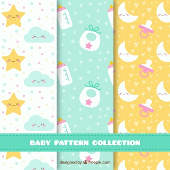 Baby patterns collection with toys and clothes