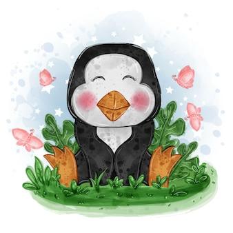 赤ちゃんペンギンかわいいイラスト蝶と草の上に座る