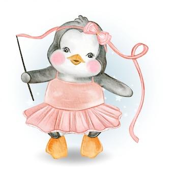 Baby penguin dancing ballerina watercolor illustration