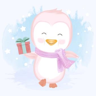 Baby penguin holding gift box hand drawn illustration