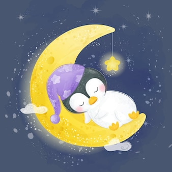 水彩でイラストを眠っている赤ちゃんペンギン
