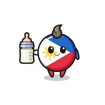 Детские значки флага филиппин мультипликационный персонаж с бутылкой молока, милый стиль дизайна для футболки, наклейки, элемента логотипа