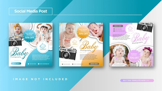 Baby photography service instagram post template promotion