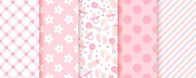 ベビーピンクのシームレスパターン。パステルの背景。女の赤ちゃんの幾何学模様。ベクター。