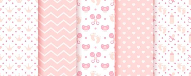 ベビーピンクのシームレスパターン。パステルプリント。ベビーシャワーの背景。キッズテクスチャのセット。